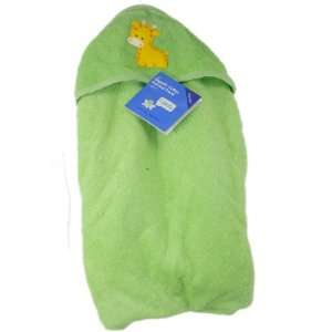 Soft Baby Hooded Bath Towel, Color Green, Features Baby Giraffe