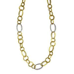 Genuine Volder Tirol TM Two Tone Gold Necklace. 18KT Yellow Hammered