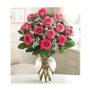 Rose Elegance Premium Long Stem Roses   One Dozen Pink Roses