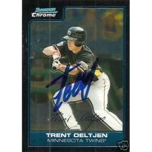 Trent Oeltjen Signed Twins 2006 Bowman Chrome Card