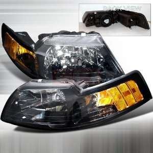 Ford Ford Mustang 1Pc Headlights/ Head Lamps  Black Euro