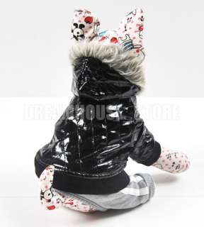 PU leather Hoodie Jacket Coat Jumpsuit puppy Dog pet clothes XS S M L