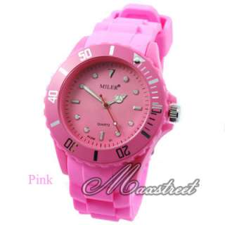 New Fashion Candy Colors Girl Womens silicone Wrist Watch Jelly