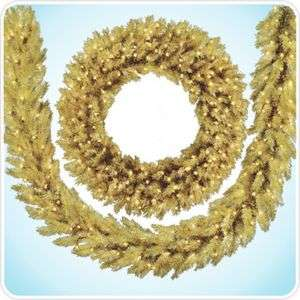 36 Toasted Champagne Gold Tinsel Artificial Christmas Wreath Prelit
