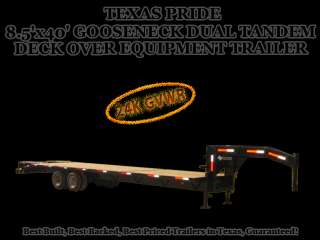 5x40 Texas Pride Gooseneck Dual Tandem Deck Over Equipment Trailer