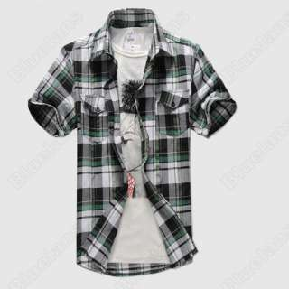 Mens Slim Fit Casual T Shirt Plaid Check Dress Short Sleeve Vintage