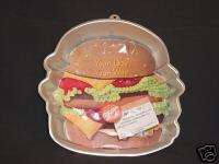Wilton BIG HAMBURGER cake pan Party BBQ mold tin INSERT