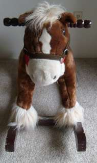 Kids Plush Brown ROCKING HORSE Toy w/ Stirrups & Wood Rockers 3 x 2