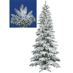 10 Pre Lit Slim Flocked Layered Utica Fir Artificial