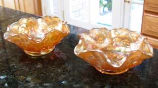 1915s FEATHERED SERPENT*Fenton Marigold Ruffled Sauce Bowl