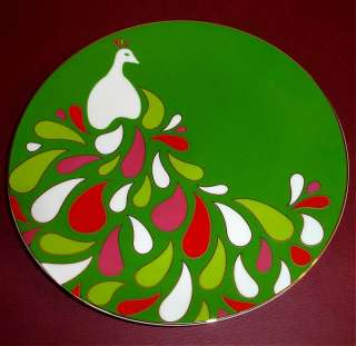 Kate Spade Festive Peacock Accent Plate Set of 4 Green New