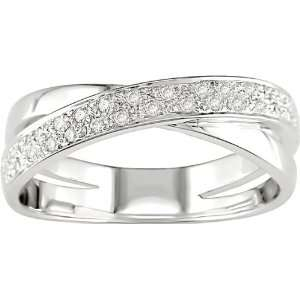 14K White Gold 1/6 ctw Diamond Criss Cross Ring Jewelry
