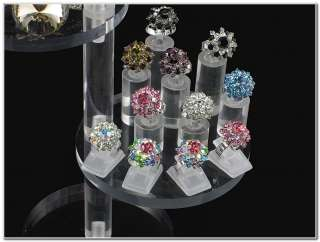 Tier Round Clear Acrylic Jewelry Display Stand Riser