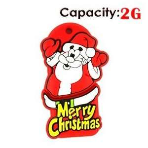 Lovely Cartoon Santa Claus Shape Design 2GB Rubber USB