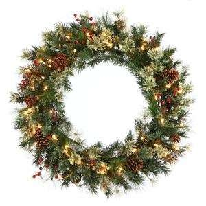 48 Nisswa Berry Pine Christmas Wreath 200Cl w/ Cones And