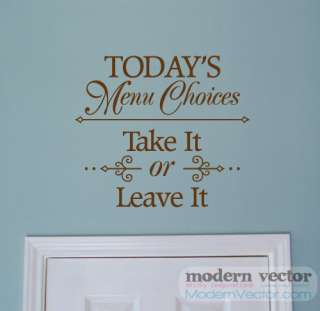 Todays Menu Choices Kitchen Vinyl Wall Quote Decal