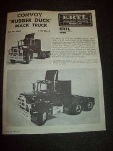 VINTAGE ERTL BLUEPRINT KIT RUBBER DUCK CONVOY MACK TRUCK 1/25