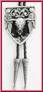 NEW RODEO BULL SKULL HORN COWBOY BLACK WESTERN BOLO TIE