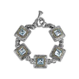 and 14k Gold Sky Blue Topaz Chain Link Toggle Bracelet  Jewelry
