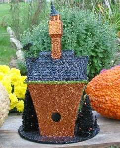 Halloween Large Glittered Mansion Lighted Haunted House Table Piece