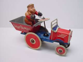 Marx Popeye/ Bluto Dippy Dumper Truck Tin Wind up Toy