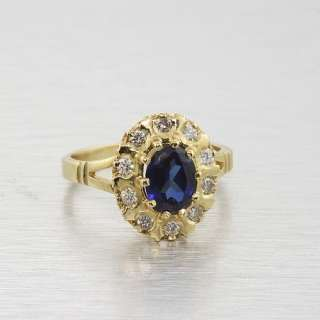 Edwardian 18k Yellow Gold Oval Blue Sapphire Diamond Vintage Ring