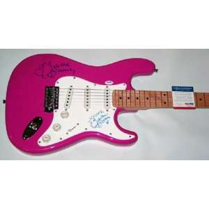 Tabitha Stevens Autographed Signed Dual Signed Pink Guitar