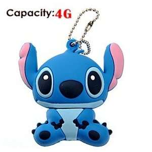 4G Cute Cartoon Stitch Shape Rubber USB Flash Drive (Blue