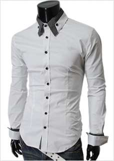 Mens casual premium strechy slim fit dress shirts