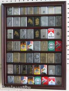 56 Zippo Lighter Display Case Wall Shadow Box Cabinet