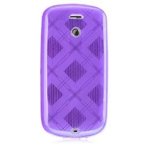 PURPLE CHECKER SOFT CRYSTAL TPU RUBBER SKIN COVER CASE FOR