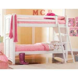 Solid Wood White Finish Twin Over Full Bunk Bed Kids Furniture