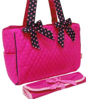 Pink Black Polka Dot Quilted Diaper Bag With Changing Pad Baby Tote