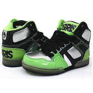OSIRIS KIDS NYC 83 HI HIGH TOPS BLACK / GUN / LIME SKATE SHOES ONLY £
