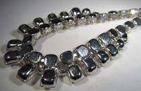 Vintage Eisenberg Ice Necklace Rhinestone Silver Tone CAR 1537