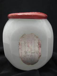 CLAMBROTH ART DECO MILK GLASS SUGAR CANISTER COUNTER JAR W/ RED LID