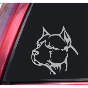 Pit Bull Pitbull Head #2 Vinyl Decal Sticker   Grey