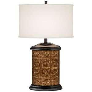 Copper Tile Giclee Art Base Table Lamp