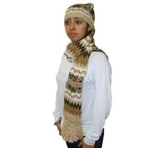 Alpaca Scarf Hat Hand Knit Fair Trade Alpaca Blend Wool
