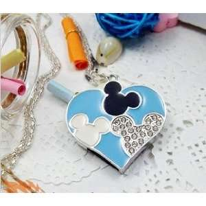 8GB Crystal Mickey Heart Style Necklace Flash Drive(Blue) Electronics