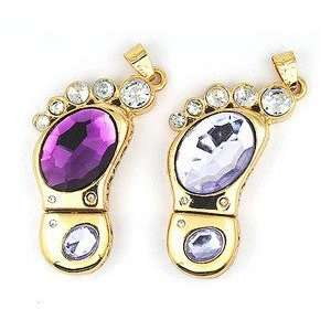 8GB Clear Crystal Foot Style USB Flash Drive with Necklace