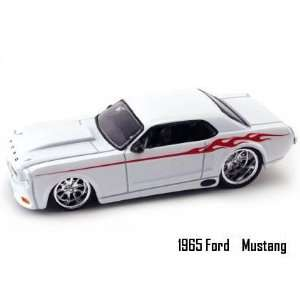 Jada Dub City Big Time Muscle White 1965 Ford Mustang with Flames 164