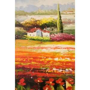 TUSCANY RED POPPY FIELD LANDSCAPE MODERN REALISM LARGE OIL PAINTING 20