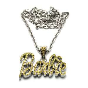 Small Silver with Yellow Nicki Minaj Barbie Pendant with a
