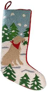 EXCLUSIVE DESIGN GOLDEN RETRIEVER HOOKED NEEDLEPOINT CHRISTMAS DOG