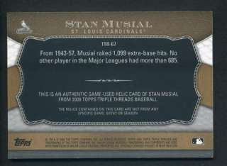 2009 Triple Threads Stan Musial Authentic Game Used Jersey Bat Relic