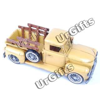 Hand Made Art Bar Decor Tin Metal Car Model Farm Truck Yellow