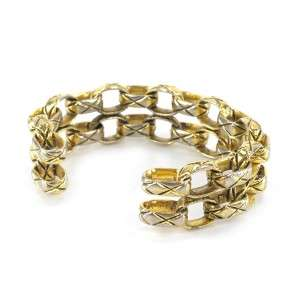 AUTHENTIC VINTAGE CHANEL® CC GOLD MATELASSE QUILTED CHAIN LINK CUFF
