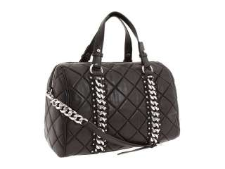 New MICHAEL KORS Quilted Studded ID Satchel Handbag Bag Medium Black