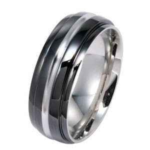 High Polished Black Stainless Steel Ring With Silver Line